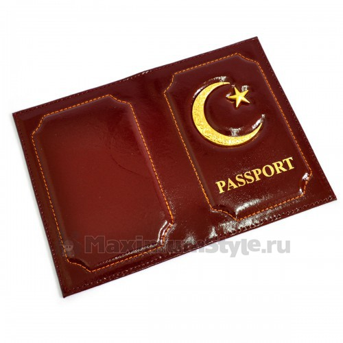 """Обложка для паспорта """"Полумесяц и звезда"""" (cherry)"""