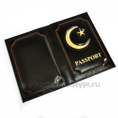 """Обложка для паспорта """"Полумесяц и звезда"""" (black)"""