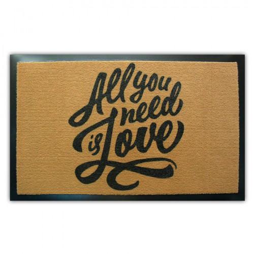 """Коврик придверный """"All You Need Is Love"""" (резиновая основа)"""