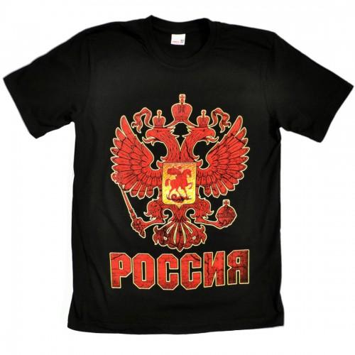 """Футболка черная """"Россия с Гербом"""""""