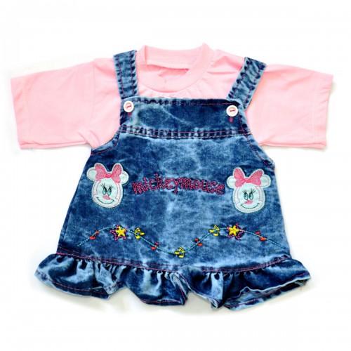 """Комплект для девочки: джинсовый сарафан и футболка """"Mickey Mouse"""" (pink)"""