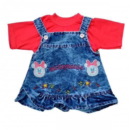 "Комплект для девочки: джинсовый сарафан и футболка ""Mickey Mouse"" (red)"